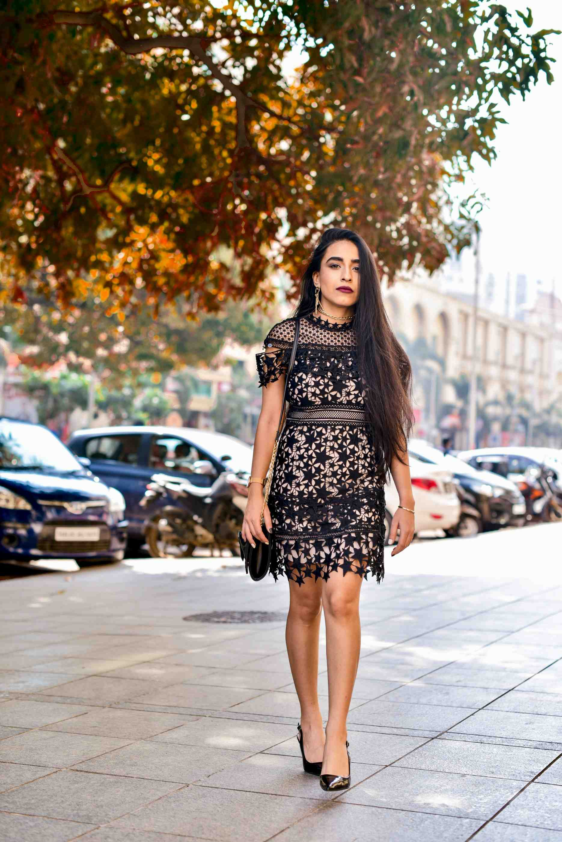 new year dress , new year party, nye 2018, party outfit ideas nude dress self portrait black dress lbd street style