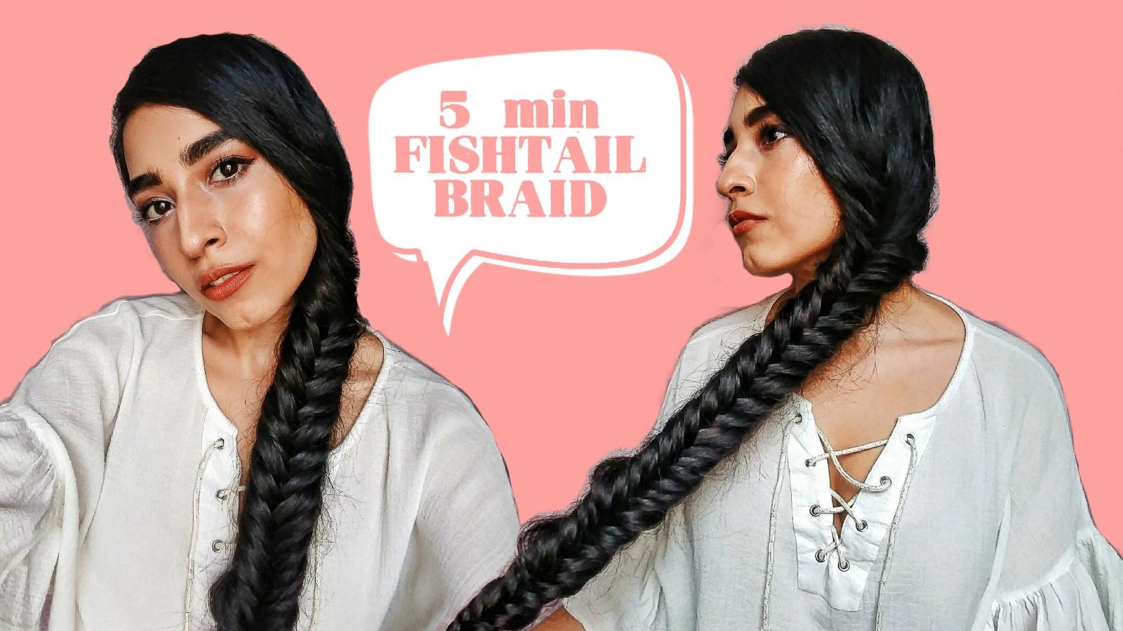 hairstyle, easy hairstyles, long hair, long hair, fishtail braid, 5 min hairstyle, hair tutorial, easy hair tutorial, fishtail braid hair tutorial
