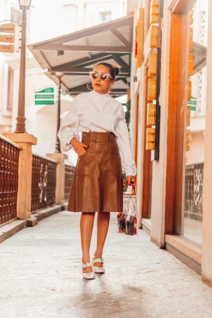 shein, shein haul, haul, vintage, street style, street style blogger, fashion blogger, style blogger, indian fashion blogger, white shirt outfit, ootd, tan skirt, tan leather, transparent bag, trends