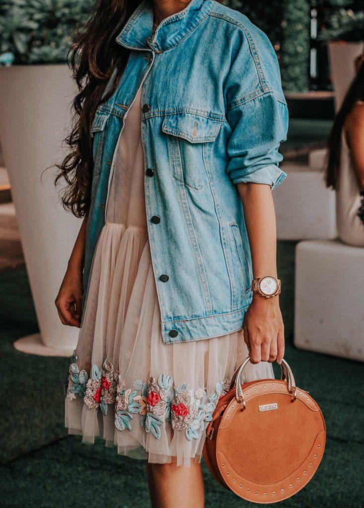 lakme fashion week, lfw, lfwwf2018, fashion week, lakme fashion week street style, fashion week street style, amazon fashion week, india fashion week, street style india, india fashion blogger, not so serious by pallavi mohan, designer, indian designer, tulle dress, embroidered dress, denim jacket