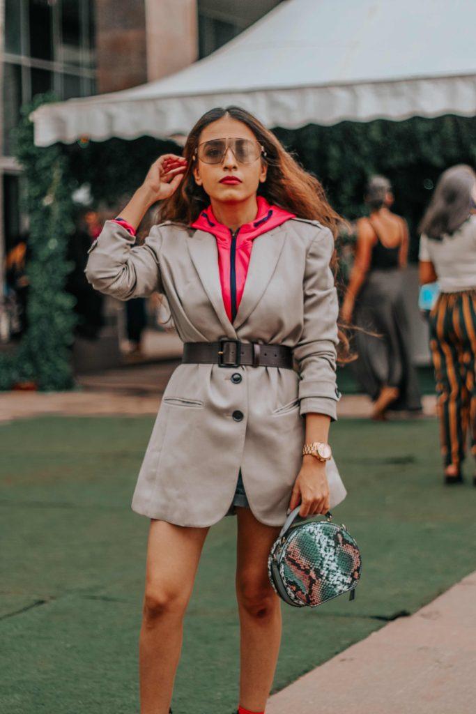 burberry, ysl, burberry blazer, neon street style, hoodie with blazer,lakme fashion week, lfw, lfwwf2018, fashion week, lakme fashion week street style, fashion week street style, amazon fashion week, india fashion week, street style india, india fashion blogger,