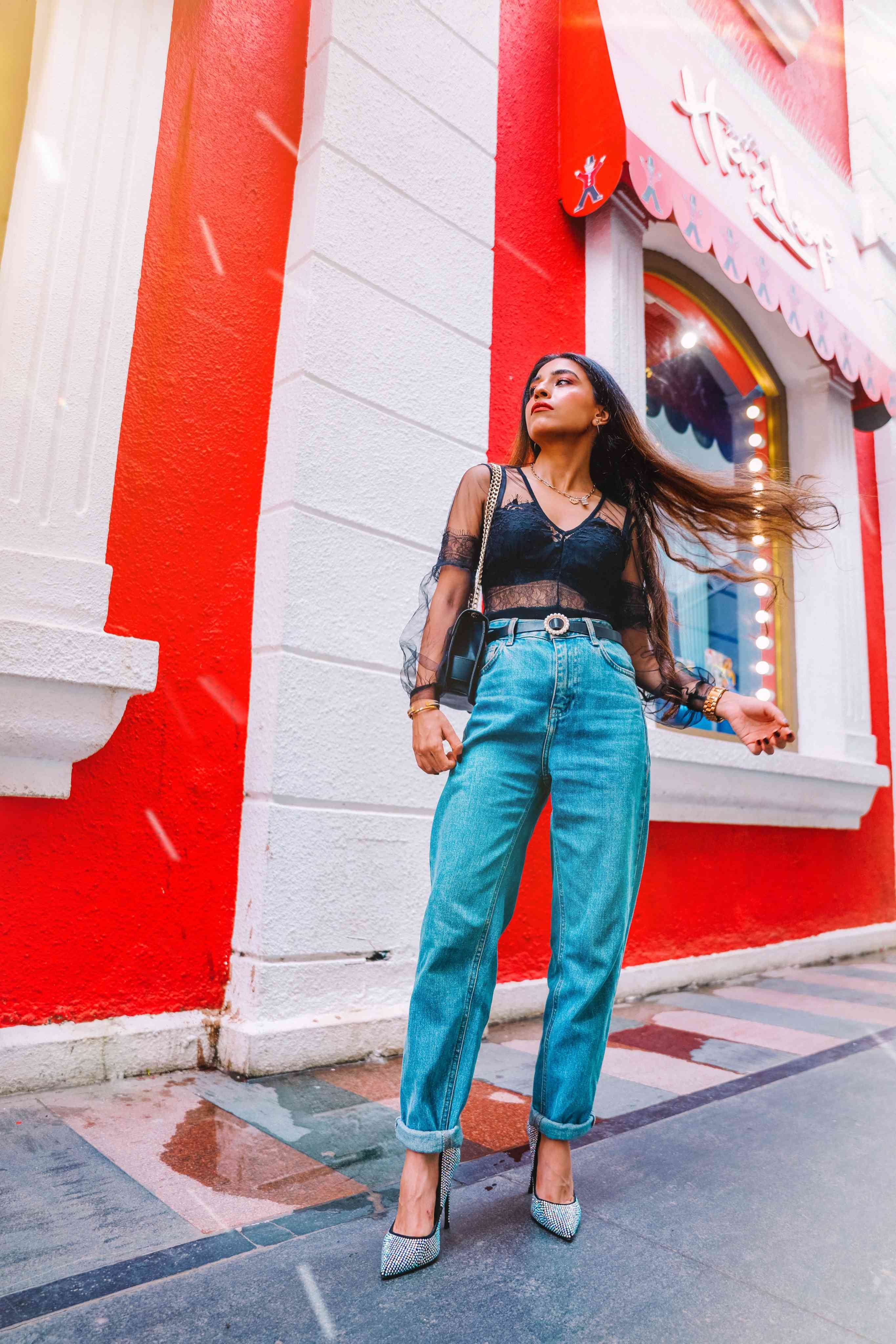 denims, blue denims, black lace bodysuit, black bodysuit, mom jeans, casual outfit, sexy outfit, outfit of the day, denim outfit, jeans look, how to wear mom jeans, boyfriend jeans, blogger outfit, streetstyle, indian blogger, neha menghwani, stylessential