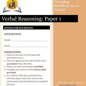 Verbal Reasoning Exam Paper 1 11+