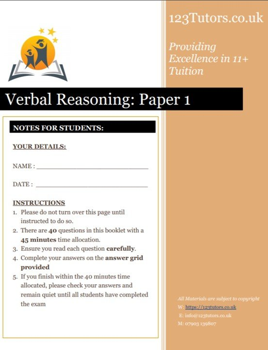 Verbal Reasoning Exam Paper 1 11+