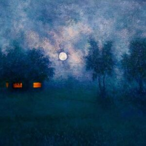 Painting of moonlit night on canvas