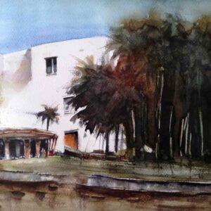 Painting of houses amongst foliage
