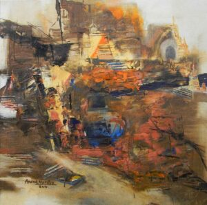 Abstract painting on Benaras on canvas