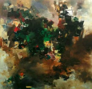 Abstract art of Benaras on canvas