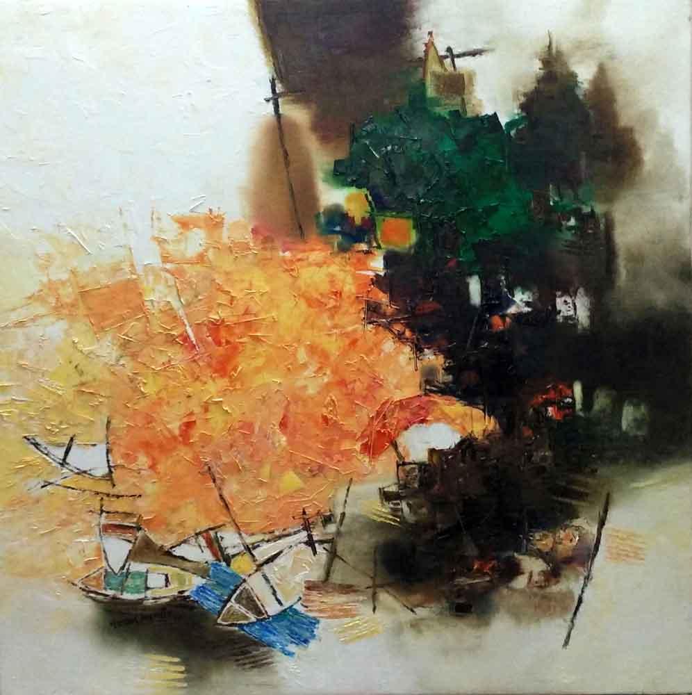 Abstract art of Benaras on canvas