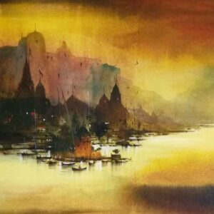 Painting of Benaras on canvas board