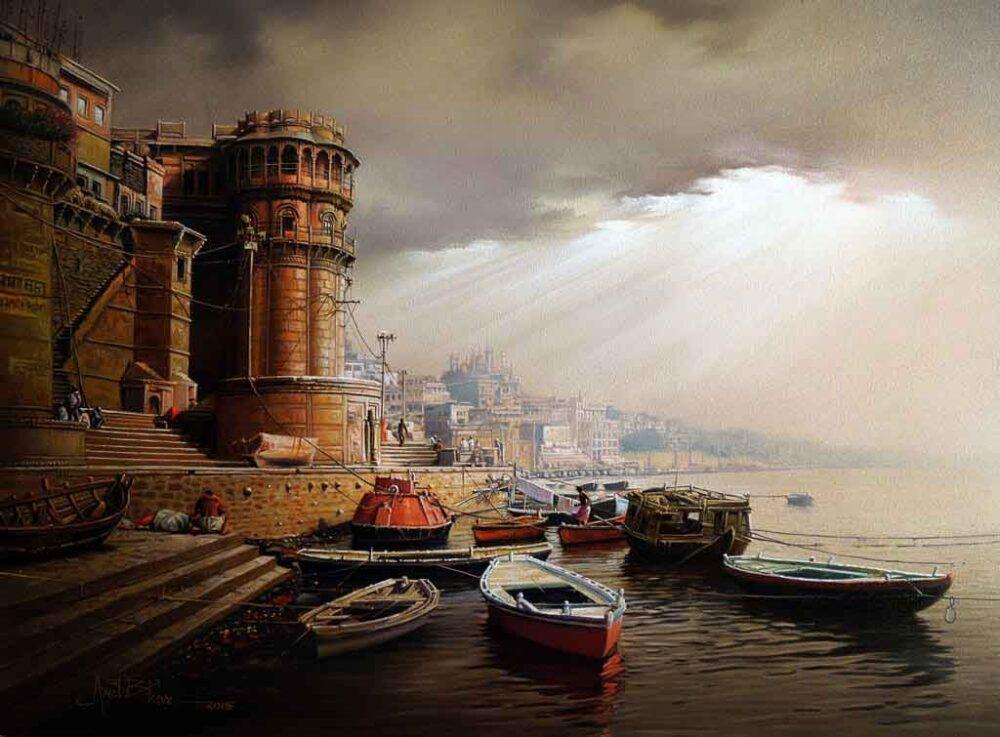 Painting of Benaras ghat on canvas