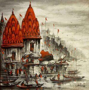 Painting of Benaras on canvas
