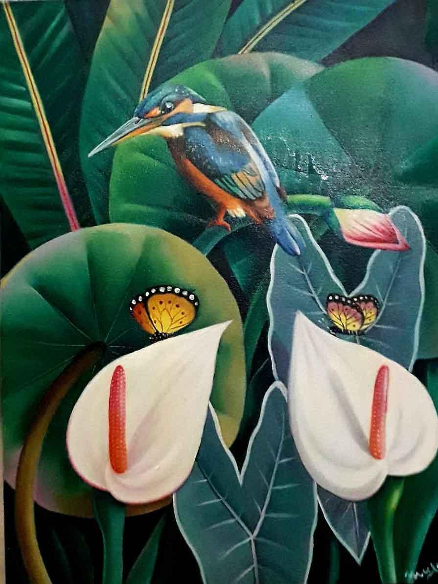 Painting of bird on canvas