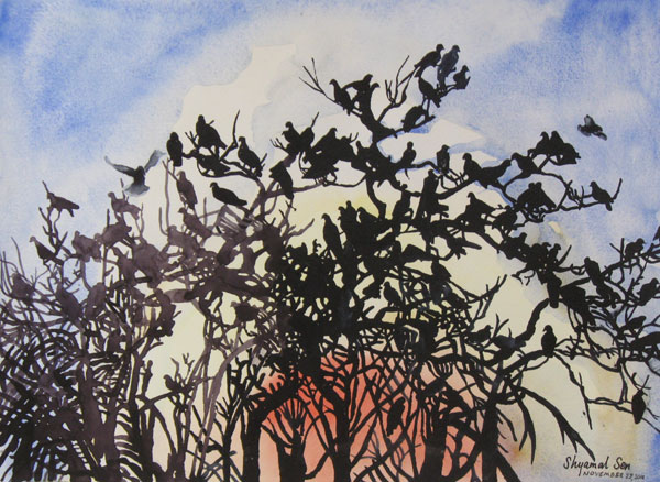 Painting of birds on paper