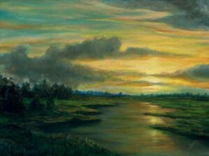 Painting of colours of the sky in the evening on canvas