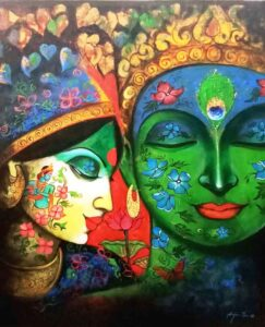 Painting of Krishna on canvas