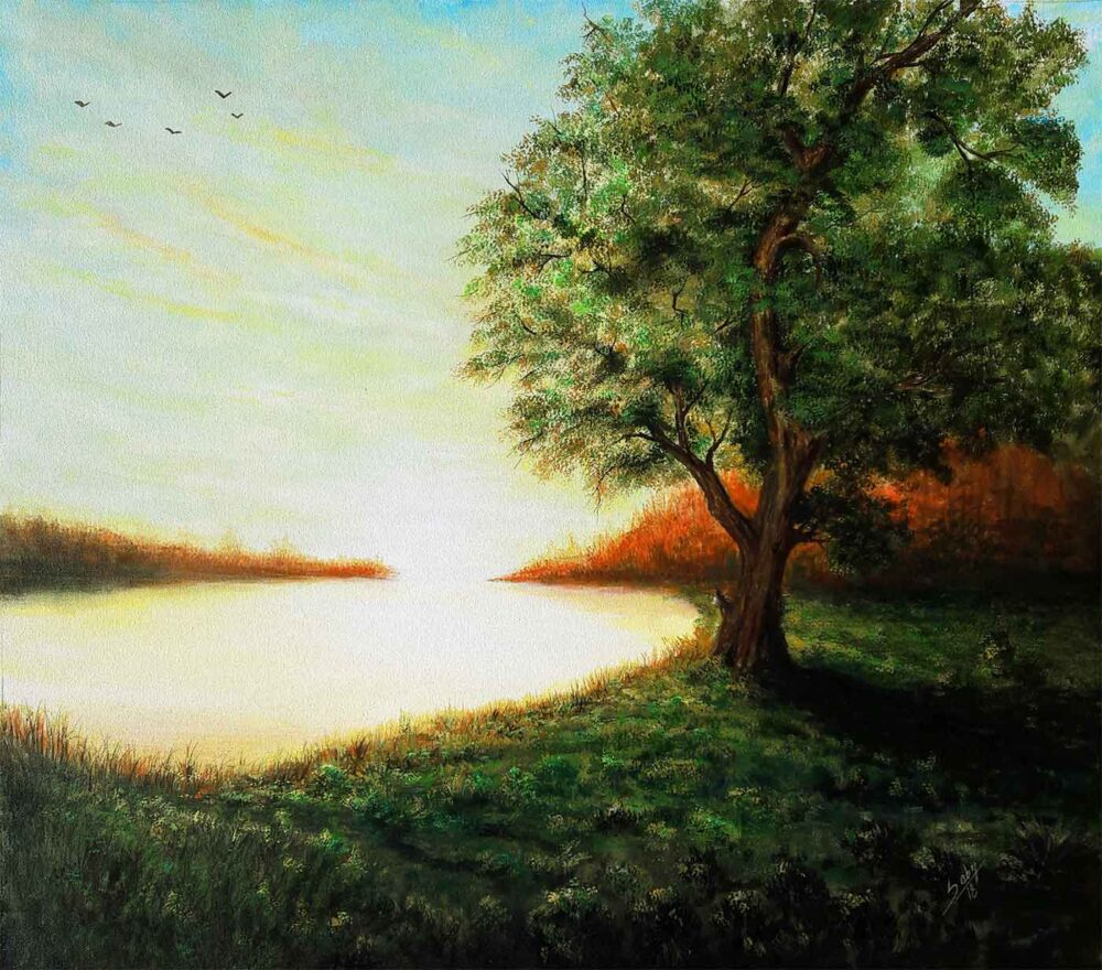 Painting of a tree with sun shine on canvas