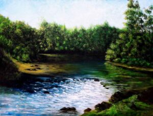 Painting of a flowing stream on canvas