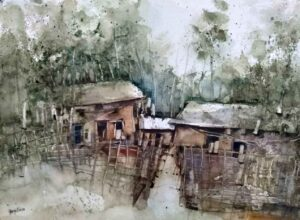 Painting of houses and landscape on paper