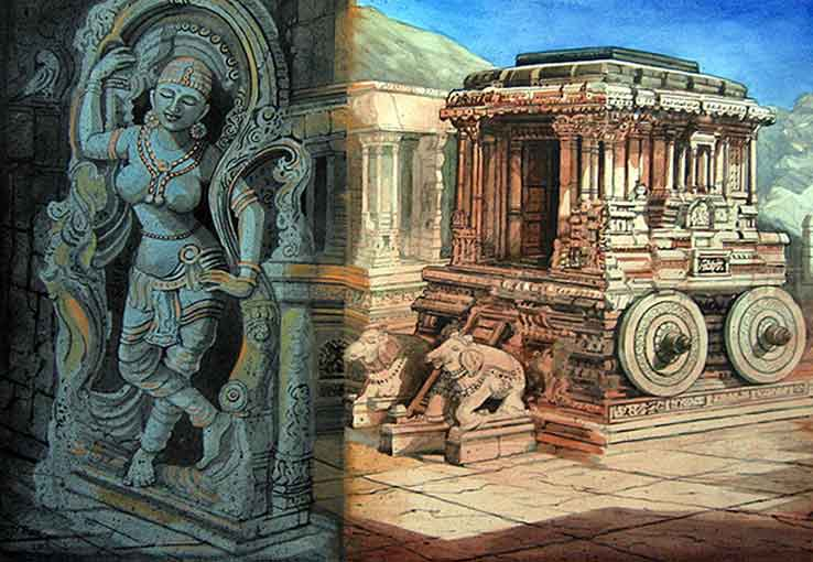 Painting of Hampi on paper