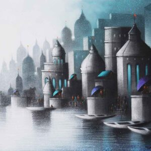 Painting of Benaras on canvas