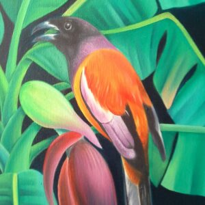 Painting of bird on canvas