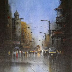 Painting of Kolkata on canvas board