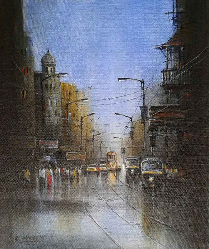 Painting of Kolkata on canvas board