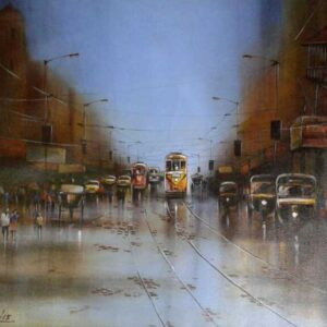 Painting of Kolkata on canvas
