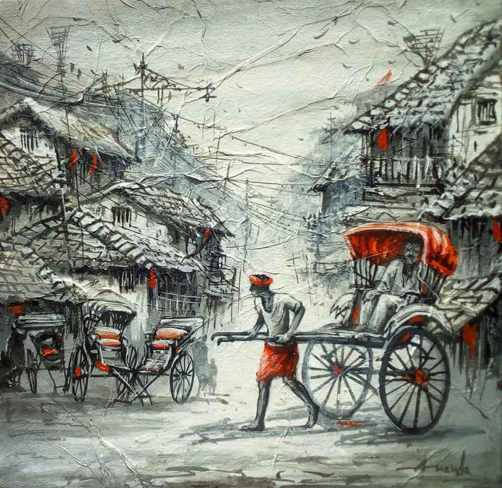 Painting of Kolkata rickshaw on canvas