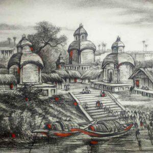Painting of Kolkata Kalighat on paper