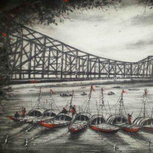 Painting of Howrah bridge on paper
