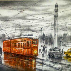 Painting of Kolkata tram on paper