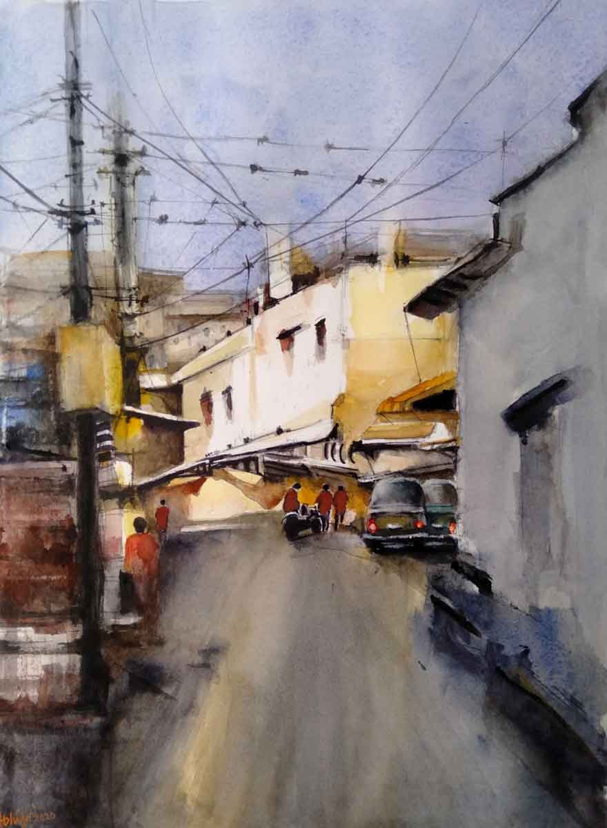 Paintings of a road inside a city