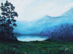 Painting of a lake on canvas