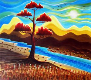 Painting of red tree on canvas