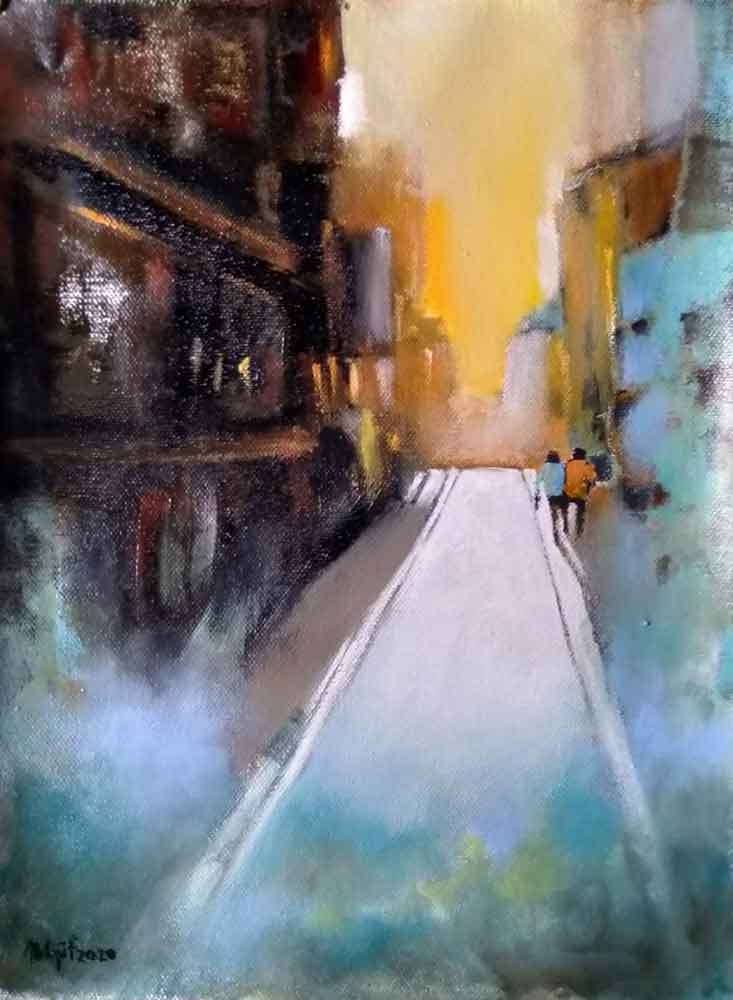 Painting of a road on canvas