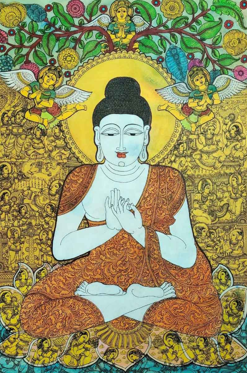 Kalamkari painting of Buddha on canvas