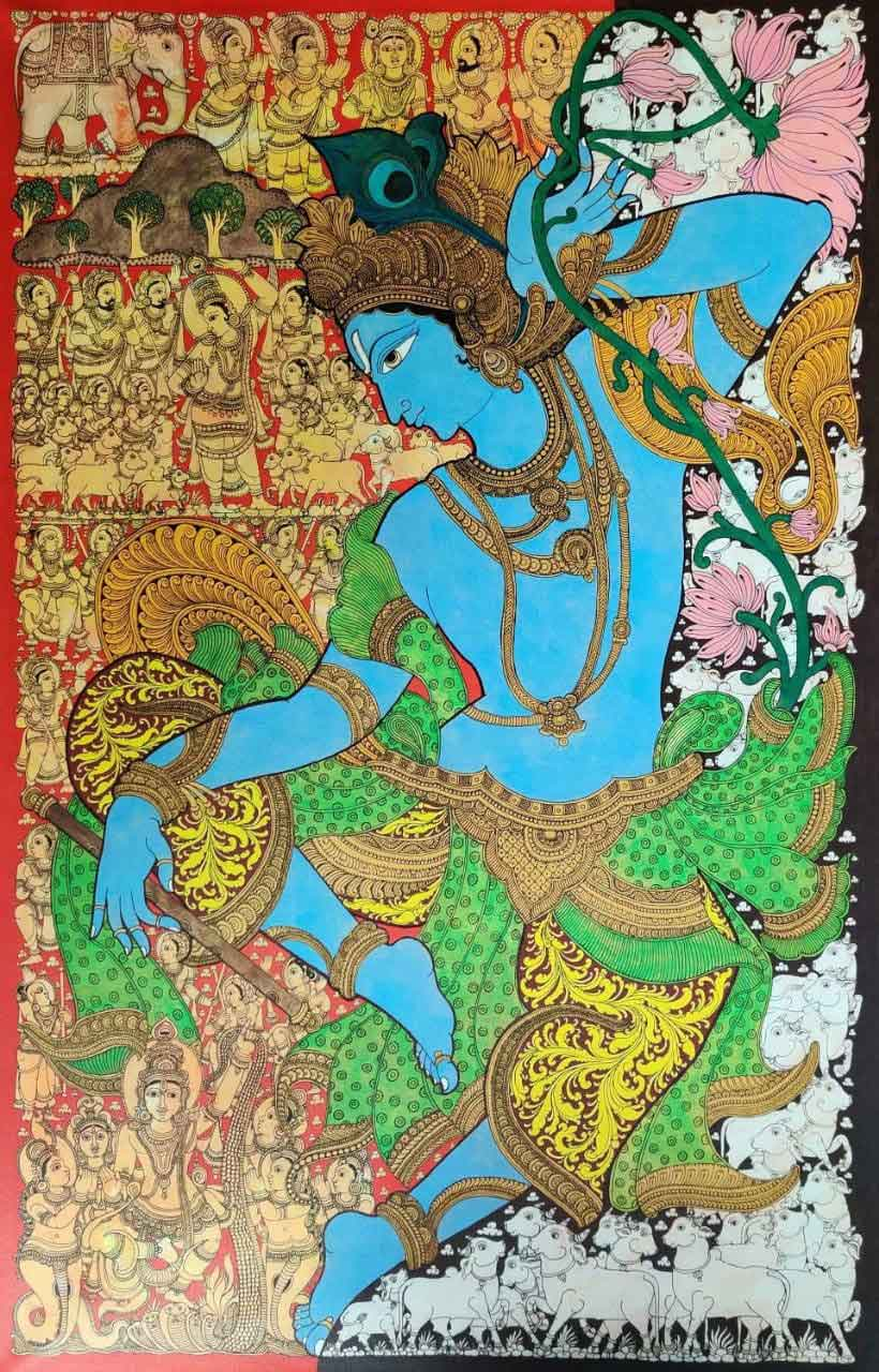 Kalamkari painting of Krishna on canvas