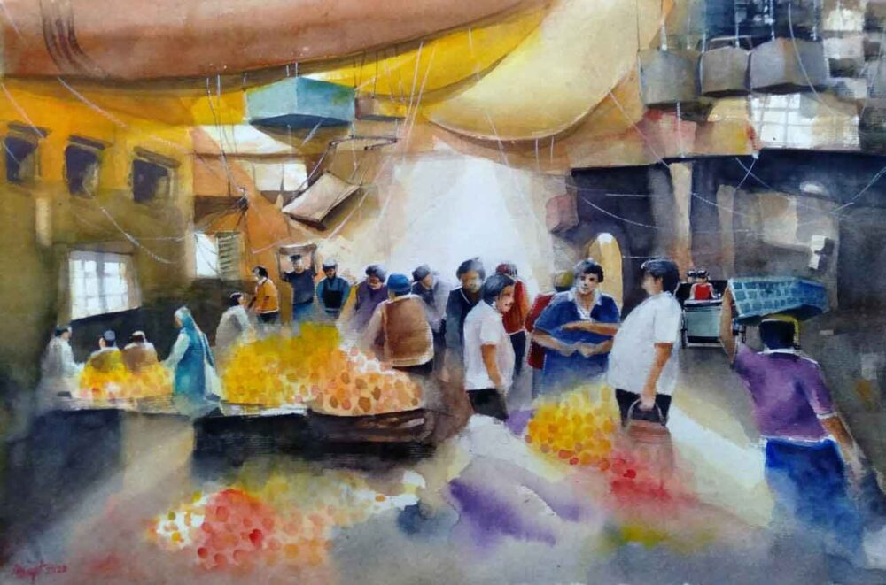 Painting of market place on paper