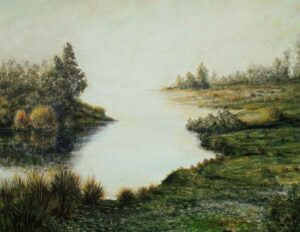 Painting of early morning mist on canvas