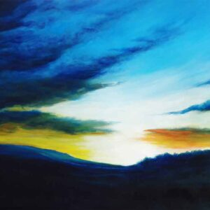 Painting of the morning sky on canvas