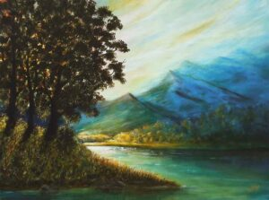 Painting of early morning on canvas
