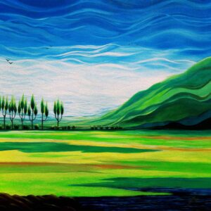 Painting of colourful field on canvas