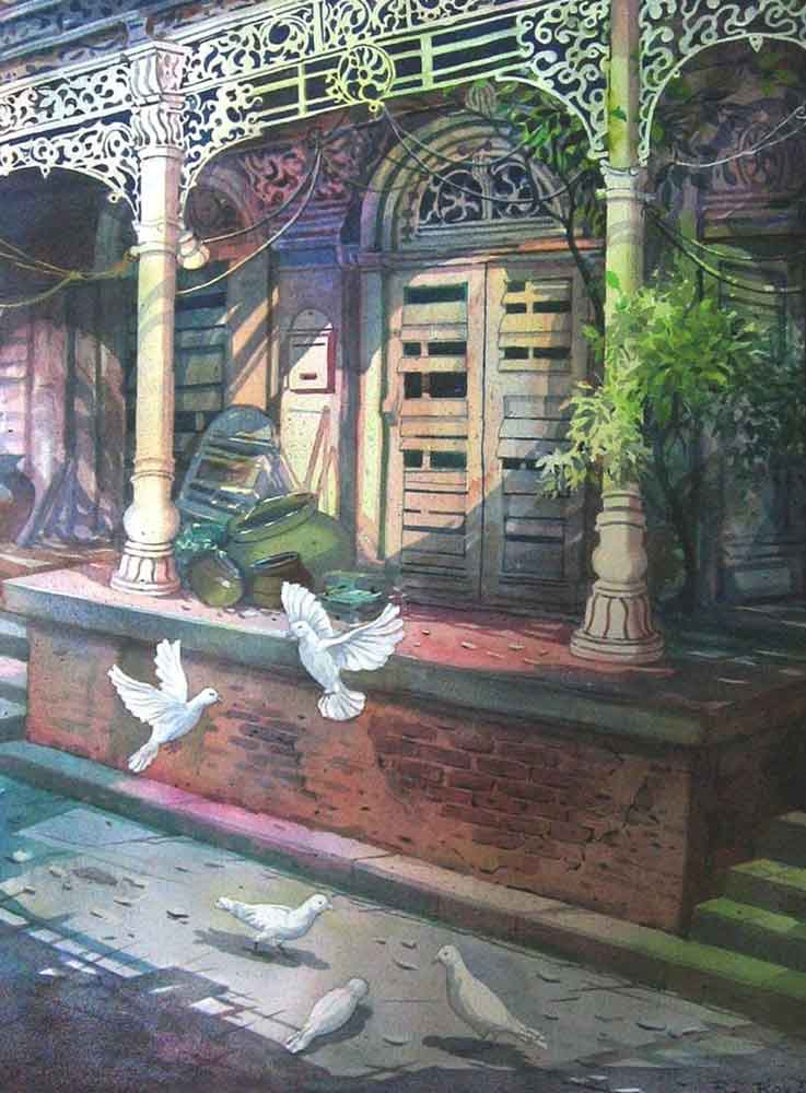 Painting on paper of pigeons in an old house