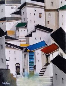 Painting of houses on canvas