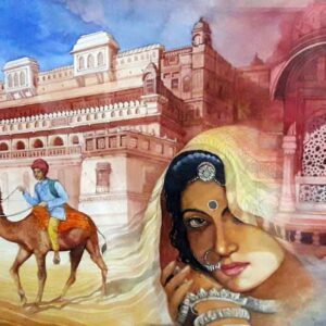 Painting of Rajasthan on paper