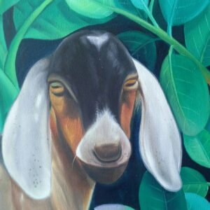 Painting of goat on canvas