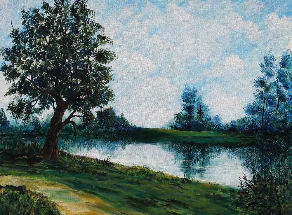 Painting of a serene and green landscape on canvas
