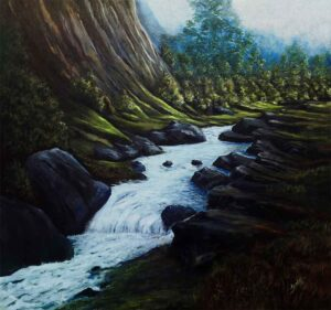 Painting of a stream on canvas